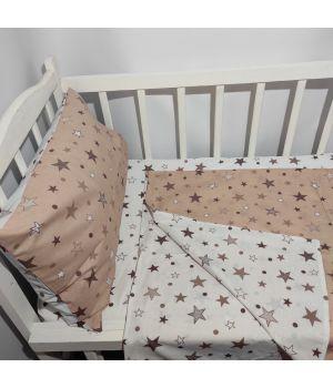 Постельное в детскую кроватку КОМБИНИРОВАНОЕ (с пододеяльником 90*110)